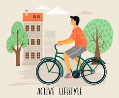 Vektor illustration av man på en cykel. Hälsosam livsstil.