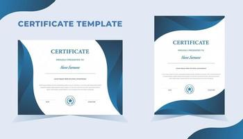 Vorlage für kreative Anerkennungsurkunde mit blauer Farbe vektor