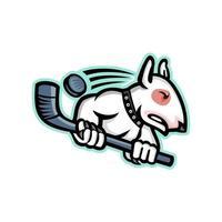 Bullterrier mit Eishockeyschläger vektor