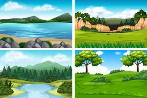 Set av naturlandskap vektor