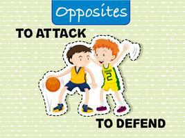 Attackiere und verteidige entgegengesetzte Wörter vektor