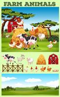 Bauernhofthema mit Tieren und Feld vektor