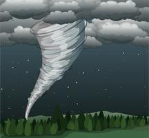 Tornado i landskapscenen