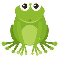 Grüner Frosch, der auf weißem Hintergrund sitzt vektor