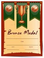 Certifikatdesign för bronsmedalj vektor