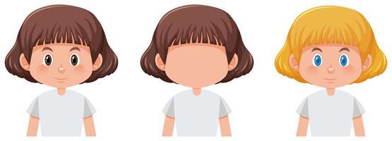 Set av tjej med olika hårfärg vektor