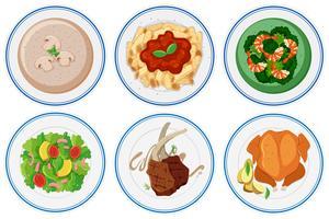 Olika typer av mat på maträtten vektor