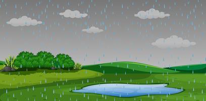 Raining outdor park scen