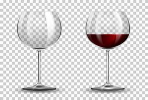 Rotweinglas auf transparentem Hintergrund vektor
