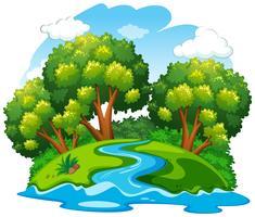 En flod naturlandskap vektor