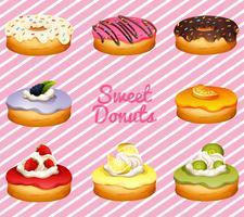 Donuts in verschiedenen Geschmacksrichtungen vektor