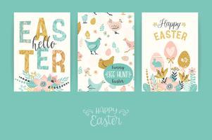 Frohe Ostern. Vektorvorlagen für Karten, Poster, Flyer und andere Benutzer.