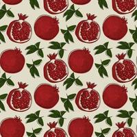 nahtloses Muster mit Granatapfelfrucht im handgezeichneten Skizzenstil. vektor