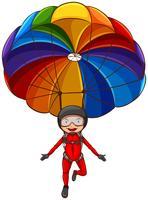 Eine einfache Skizze eines Mädchens mit einem Fallschirm vektor