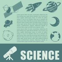 Sciene tema med teleskop och planeter vektor