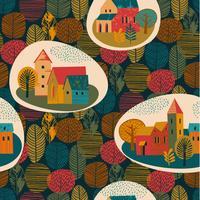 Vektornahtloses Muster der Stadt im Regen. Herbststimmung.
