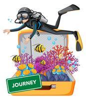Dykning under vattnet på resväskan vektor