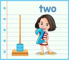 Ein Mädchen, das Nummer zwei hält vektor