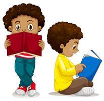 Afrikansk pojke läsning bok vektor