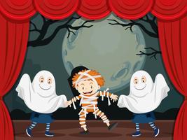 Geister und Mumie spielen auf der Bühne vektor