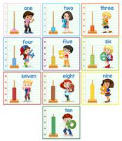 Set med barn hilding nummer vektor