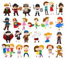 Barn i olika outfits vektor
