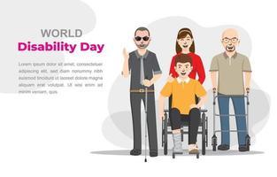 Welttag der Behinderung, Behinderte. Vektor-Illustration vektor