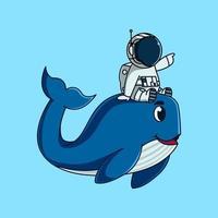 süßer Astronaut mit süßem Wal. niedliche Maskottchen-Cartoon-Illustration vektor