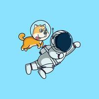 Süßer Shiba Inu und Astronaut fliegen zum Mond. süße Maskottchen-Cartoon vektor
