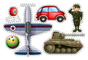 Aufklebersatz verschiedene Spielzeuge vektor