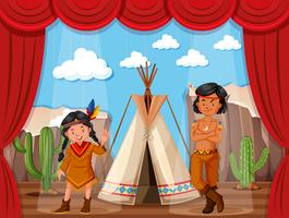 Rollenspiel der amerikanischen Ureinwohner auf der Bühne vektor