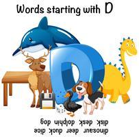 Olika ord som börjar med D på vit bakgrund