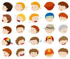 Manliga ansikten med olika känslor