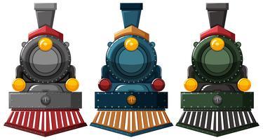 Dampfmaschinenausführungen in drei Farben vektor