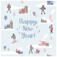 Weihnachten und guten Rutsch ins Neue Jahr nahtlose Illustration Whit-Winterlandschaft.