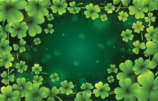 klöver bakgrund med grön och guld färg vektor