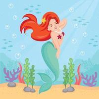 lächelnde Meerjungfrau, die die Sonnenwärme unter Wasser genießt vektor