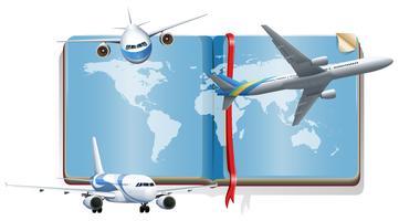 Boka med flygplan som flyger på himlen
