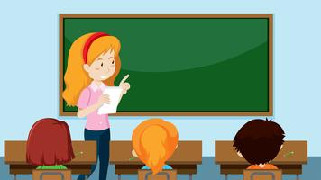 Lehrer unterrichtet eine Klasse vektor