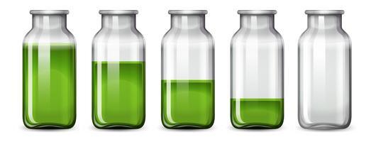 Set grüne Flüssigkeit in der Flasche vektor