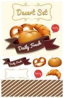 Dessert mit Brot und Brötchen vektor