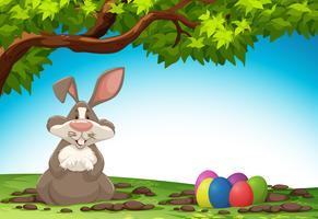 Kaninchen und Osterei in der Natur vektor