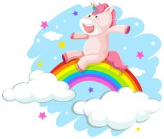 Ein glückliches Einhorn am Regenbogen vektor