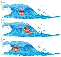 Eine Reihe von Mann im Ozean schwimmen vektor