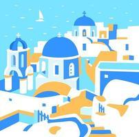 Santorini-Insel, Griechenland. quadratische Werbepostkarte. vektor