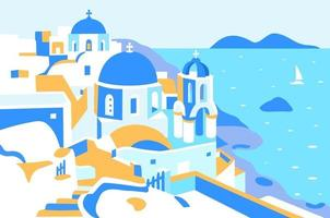 Santorini-Insel, Griechenland. Vektor-Illustration. rechteckige Anzeige vektor