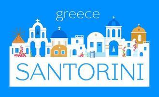 Santorini-Insel, Griechenland. rechteckiges Logo. Vektor flach
