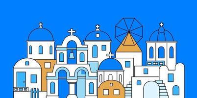 Santorin. Griechenland. Gebäude der traditionellen Architektur. Vektor