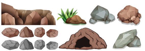 Grotta och olika former av stenar vektor