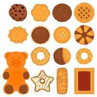 großes Set verschiedene Kekse, Kit bunter Gebäckkeks vektor
